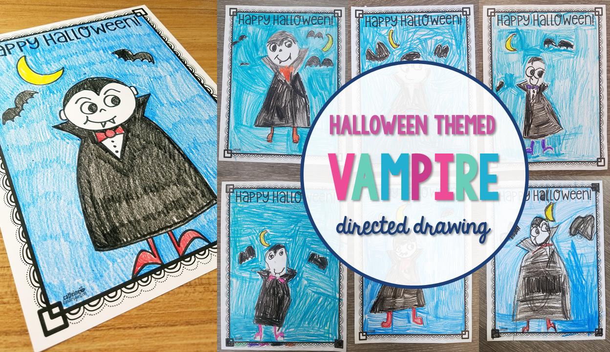 halloween vampire directed drawing - caffeineandkindergarten